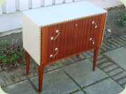Swedish 50's or 60's                           mahogany and light grey vinyl chest of                           drawers