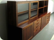 Troeds Domi Monte Nils                           Jonsson Swedish 60's sidebiard with glass door                           cabinet and bookshelf