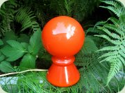 60's orange red glass table lamp