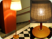 Swedish 60's teak or oak floor lamp with                           large, textile shade and inner shade in glass