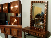 Swedish 60's rosewood                           low bemch or chest of drawers and large                           mirror