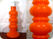 Swedish 60's large                           orange glass table lamp by Flygsfors