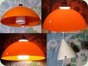 Luxus orange & white acrylic lamp                           with teak stained wood detail