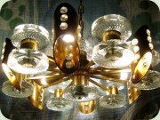 60's gilt metal                           ceiling lamp with glass cylinders and prisms