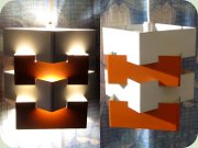 IKEA Nift 60's small                           ceiling lamp in orange & white lacquered                           metal, made by Kronobergs Belysning
