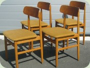 Set of 4 Scandinavian                           50's or 60's teak and beech chairs