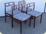 Set of four walnut                           coloured Scandinavian 60's dining chairs