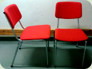 Norwegian 70's steel                           & red fabric chairs
