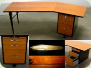 Swedish 50's large                           desk in teak veneer, black lacquered metal and                           chrome handles, Lindqvist Motala
