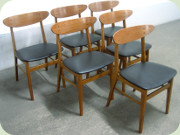 6 Danish 60's teak                           & beech dining chairs by Farstrup, the                           model was sold by IKEA by the name Monaco