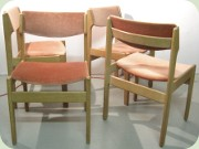 Set of four Norwegian                           60's or 70's chairs in oak & dusky pink                           plush