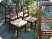 Set of 4 very well made 60's or 70's dark                           walnut high back dining chairs, probably made                           in Denmark