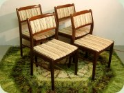 Set of four Swedish                           60's walnut chairs by Skaraborgs Möbelindustri                           Tibro