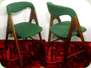 Set of four Danish                           60's V-leg teak chairs upholstered in green