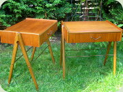 A pair of Swedish 60's                           teak bedside tables with drawer