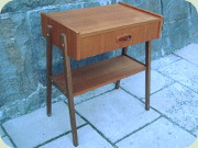 Swedish 60's teak                           bedside table with drawer and magazine shelf
