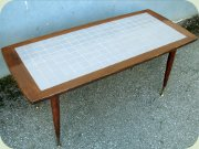 Swedish 50's or 60's                           mahogany & tile mosaic coffee table on                           tapered legs