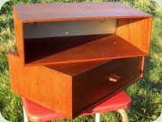 Two teak wall mounted                           bedside tables