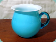 Swedish turquoise                           cased glass vase by Bergdala Glasbruk