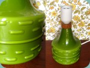 Swedish 60's green                           glass table lamp