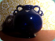 1930's cobalt blue                           handled vase, Gullaskruf William Stenberg
