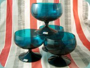 Lindshammar Gunnar                           Ander 60's footed dessert bowls in greenish                           blue
