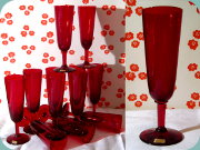 Reijmyre B6 euby red                           champagne glass by Monica Bratt