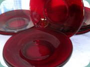 Ruby red glass salad                           plates