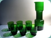 Green decanter with 6 glasses