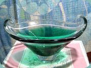 Swedish 50's green & clear glass bowl                           by Sea Glasbruk, Kosta