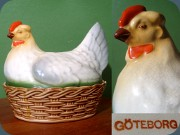 Egg bowl with lid                           shaped like a hen, Göteborgs Porslinsfabrik                           late 19th-early 20th century