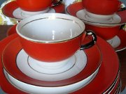 Swedish 30's Gefle                           Karneval coffee cups with saucers and small                           plates