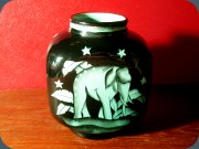 Swedish 1930's Art deco vase in black                           with green elephant decor Ilse Claeson                           Rörstrand