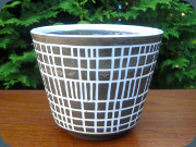 Swedish 60's brown and                           white flower pot by Upsala Ekeby for Turitz                           &Co
