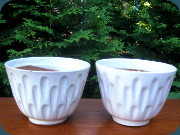 Swedish                           50's white flower pots by Upsala Ekeby