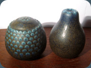Wilhelm Kåge salt                           & pepper shakers in brown and blue by                           Wilhelm Kåge Verkstad Gustavsberg