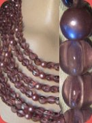 Vintage six strand necklace, purple glass and faux pearls