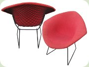 Harry Bertoia Diamond                           chair in black lacquered steel and light red                           upholstery