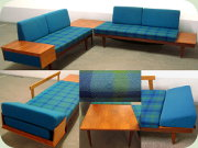 Late 60's teak sofas                           or daybeds with corner table by Ekornes Svane                           Norway