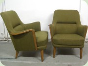 A pair of Swedish 50's                           green easy chairs