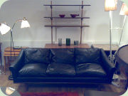 60s black sofa,                           rosewood and leather