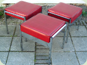 3 chrome and vinyl                           stools