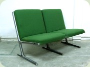 Two seat sofa in green                           fabric and aluminum base