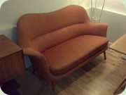 50s Swedish sofa,                           unknown design with drumstick shaped legs