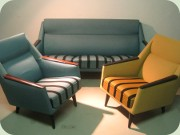 Swedish 50's or 60's                           sofa and easy chairs