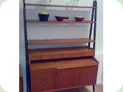 50s Swedish bookcase with black. open                           sides