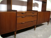 Danish 60's teak                           bookcase with low cabinets and chest of                           drawers