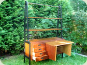 Swedish 60's teak                           bookshelf with cabinet and drawers, black                           lacquered A-shaped sides