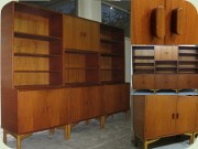 Swedish 60's teak                           bookcases with cabinets and shelves