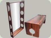"60's Swedish rosewood                           hallway furniture, Fröseke                           ""Karneval"". Table with 3 drawers and                           a large mirror"
